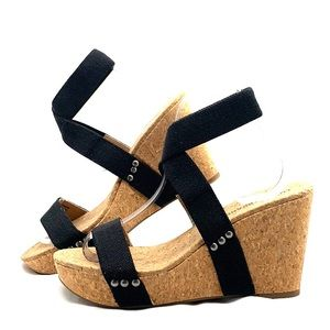 Lucky Brand Marinah Cork Wedges Ankle Strap Blk